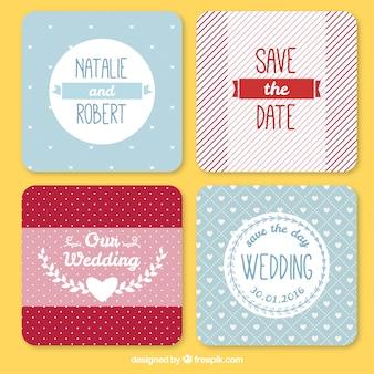 Pack de bonitas tarjetas de boda con rayas y lunares