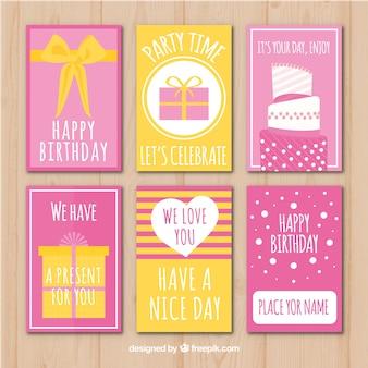 Pack de bonitas tarjetas de cumpleaños retro