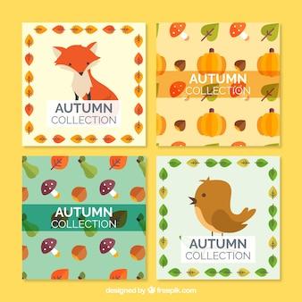 Pack de bonitas tarjetas de otoño con animales y naturaleza