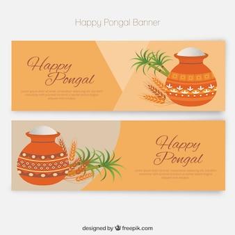 Pack de bonitos banners de Feliz Pongal