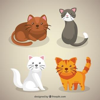 Pack de bonitos gatitos dibujados a mano