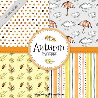 Pack de bonitos patrones de otoño dibujados a mano