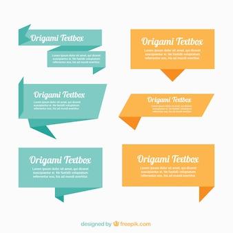 Pack de cajas de texto de origami