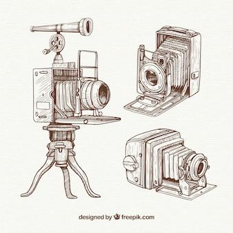 Pack de cámaras vintage profesionales dibujadas a mano