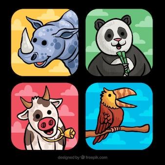 Pack de cartas dibujado a mano con animales sonrientes