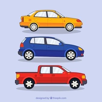 Pack de coches modernos dibujados a mano