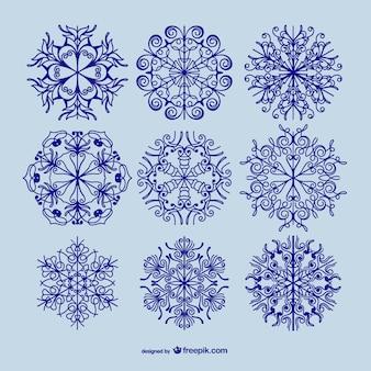 Pack de copos de nieve caligráficos