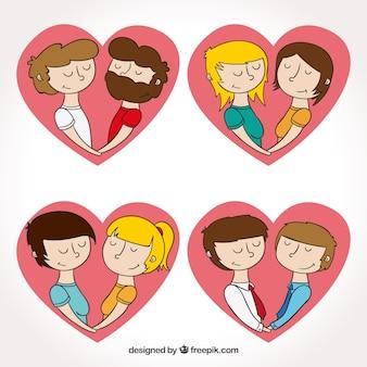 Pack de corazones con parejas enamoradas dibujadas a mano