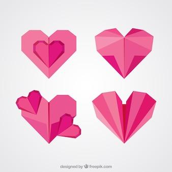 Pack de corazones de origami en diseño plano