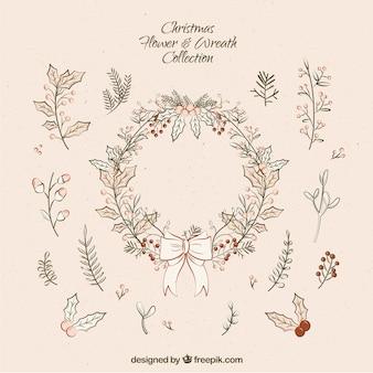 Pack de corona floral vintage y detalles naturales navideños