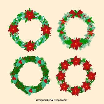Pack de coronas de navidad con detalles rojos
