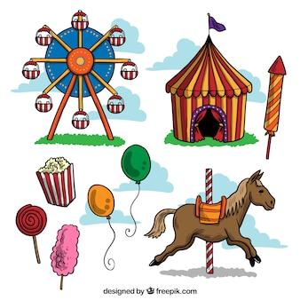 Pack de cosas de circo dibujadas a mano