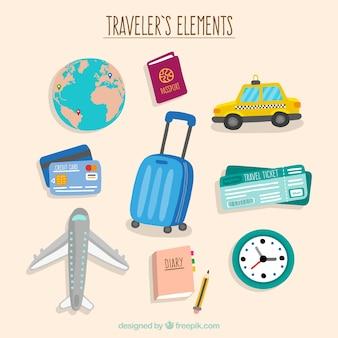 Pack de cosas de viaje dibujadas a mano