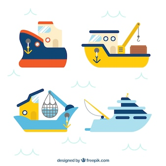 Pack de cuatro barcos de pesca