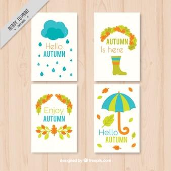 Pack de cuatro bonitas tarjetas de elementos otoñales