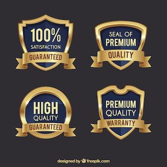 Pack de cuatro escudos dorados premium