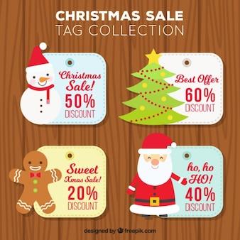 Pack de cuatro etiquetas de rebajas de navidad con personajes