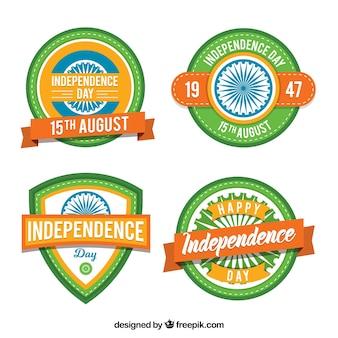 Pack de cuatro insignias del día de la independencia de india