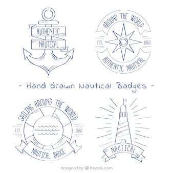 Pack de cuatro insignias náuticas dibujadas a mano