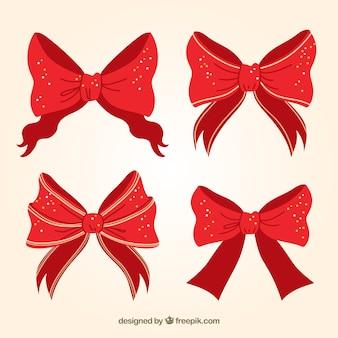 Pack de cuatro lazos navideños decorativos
