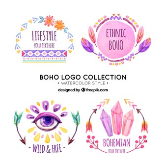 Pack de cuatro logos étnicos pintados con acuarela