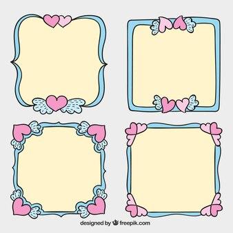 Pack de cuatro marcos de boda dibujados a mano con corazones rosas