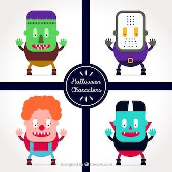 Pack de cuatro monstruos de halloween con cuerpos geométricos