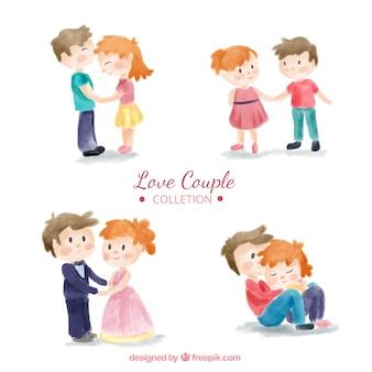 Pack de cuatro parejas enamoradas de acuarela