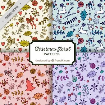 Pack de cuatro patrones florales de navidad