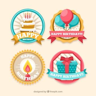 Pack de cuatro pegatinas de cumpleaños en diseño plano