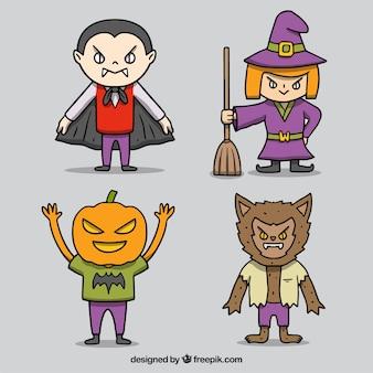 Pack de cuatro personajes de halloween dibujados a mano