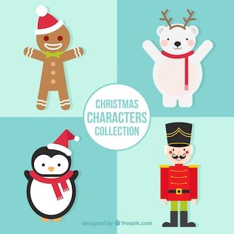 Pack de cuatro personajes navideños sonriendo