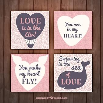 Pack de cuatro tarjetas de amor bonitas