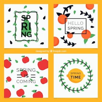 Pack de cuatro tarjetas de primavera decorativas en diseño plano