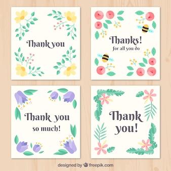 Pack de cuatro tarjetas retro de agradecimiento