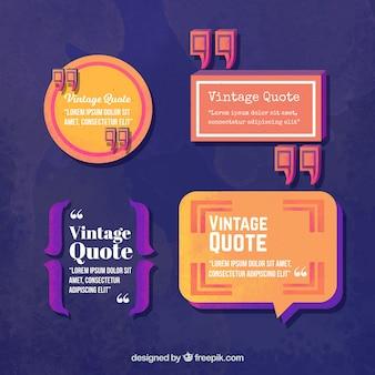 Pack de decorativos marcos de cita en estilo vintage