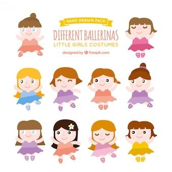 Pack de diferentes bailarinas divertidas