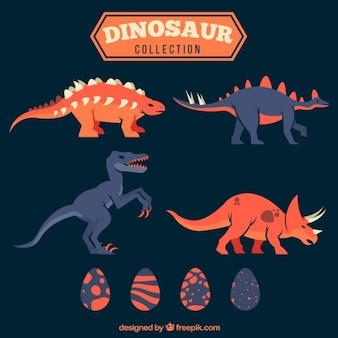 Pack de dinosaurios dibujados a mano y huevos