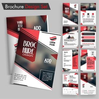 Pack de diseños de folletos con detalles en rojo