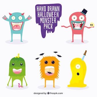 Pack de divertidos monstruos dibujados a mano