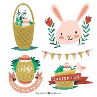 Pack de elementos adorables de Pascua dibujados a mano