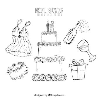Pack de elementos de boda dibujados a mano