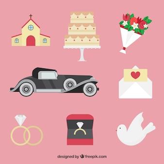 Pack de elementos de boda fantásticos en diseño plano