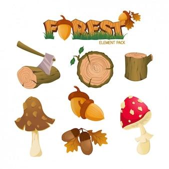 Pack de elementos de bosque