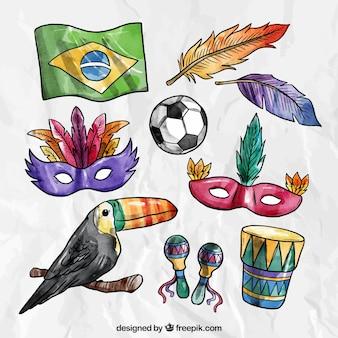 Pack de elementos de carnaval dibujados a mano