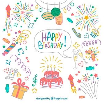 Pack de elementos de cumpleaños de colores dibujados a mano
