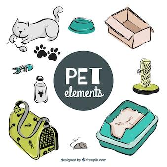 Pack de elementos de mascota dibujados a mano