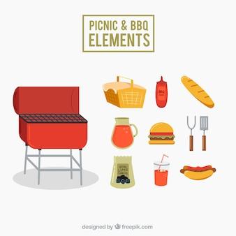 Pack de elementos de picnic y barbacoa en diseño plano