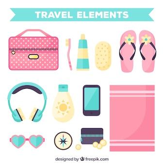 Pack de elementos de viaje en diseño plano