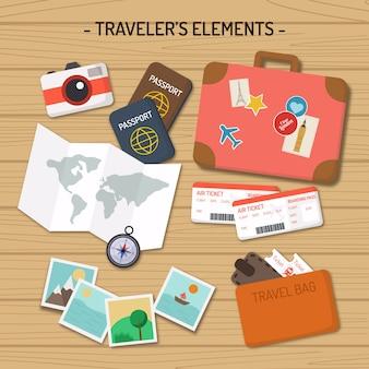 Pack de elementos de viaje planos